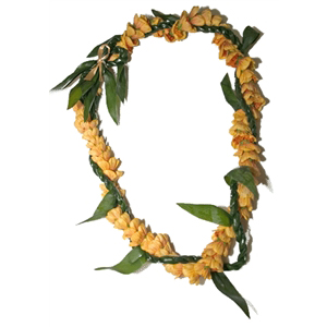 Ti Leaf Lei with a Twist of Lantern Ilima
